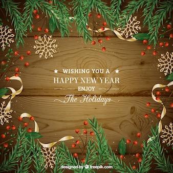 Feliz año nuevo 2018 con diseño realista y corona de navidad