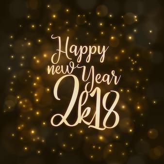 Feliz año nuevo 2018 fondo con efecto de iluminación