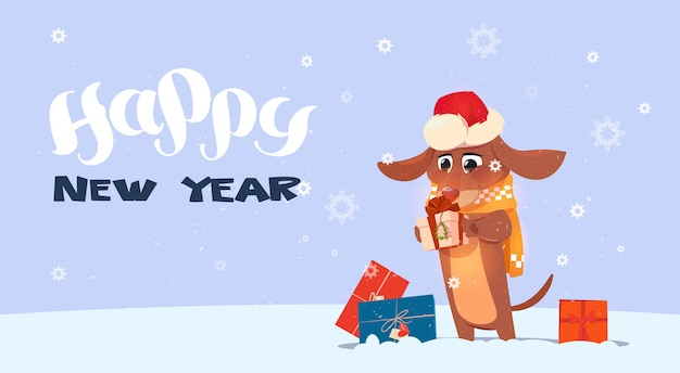 Feliz año nuevo 2018 fondo con lindo perro con sombrero de santa