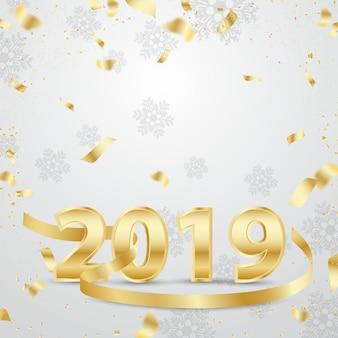 Feliz año nuevo 2019 3d diseño dorado con lazo.