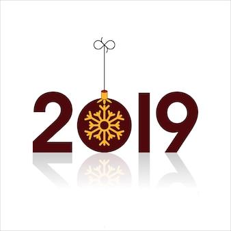 Feliz año nuevo 2019 con bola de navidad y copos de nieve.
