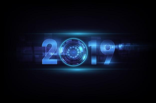 Feliz año nuevo 2019 celebración con reloj abstracto luz blanca sobre fondo de tecnología futurista.