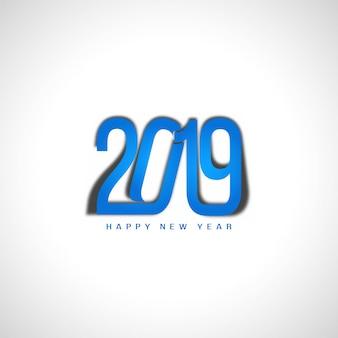Feliz año nuevo 2019 elegante diseño de texto azul