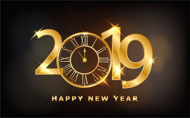 Feliz año nuevo 2019 fondo brillante