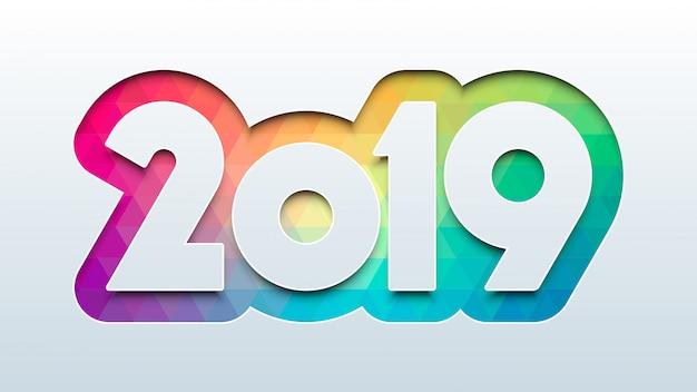 Feliz año nuevo 2019 con fondo colorido lowpoly