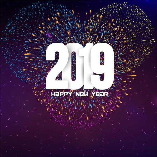Feliz año nuevo 2019 fondo decorativo colorido fuego artificial