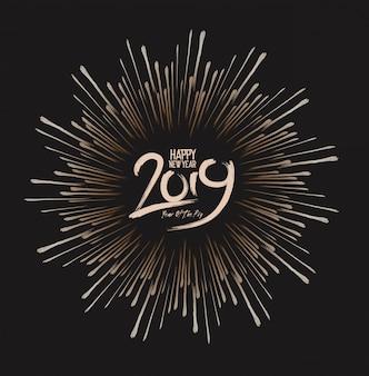 Feliz año nuevo 2019 con fondo de fuegos artificiales