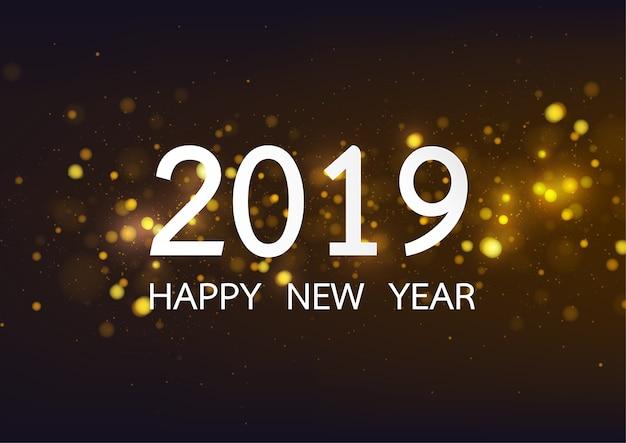 Feliz año nuevo 2019 con fondo de tipo bokeh de oro
