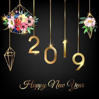 Feliz año nuevo 2019 con geometría de flores de acuarela.