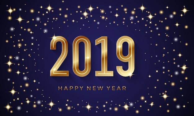 Feliz año nuevo 2019 con números de oro.