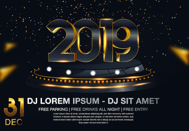 Feliz año nuevo 2019 oro y negro