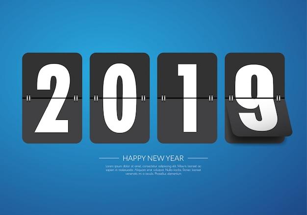 Feliz año nuevo 2019. tarjeta de felicitación.