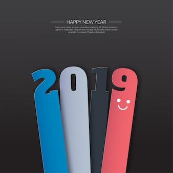 Feliz año nuevo 2019. tarjeta de saludos. diseño colorido