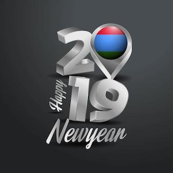 Feliz año nuevo 2019 tipografía gris