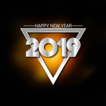 Feliz año nuevo 2019 tipografía con vector diseño creativo