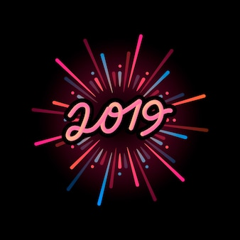 Feliz año nuevo 2019 vector insignia