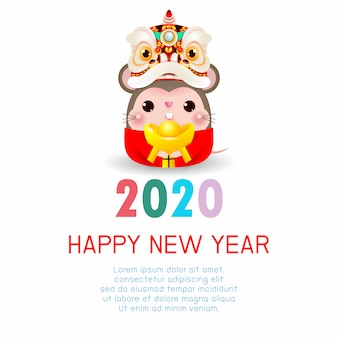 Feliz año nuevo 2020. año nuevo chino. el año de la rata. tarjeta de felicitación de feliz año nuevo con linda rata con cabeza de danza del león con oro chino