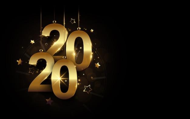 Feliz año nuevo 2020 banner. caligrafía dorada brillante de lujo 2020 y reloj con estrellas sobre fondo negro