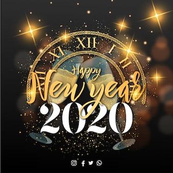 Feliz año nuevo 2020 banner con elementos de navidad