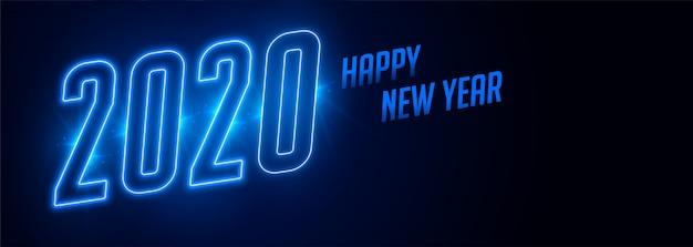 Feliz año nuevo 2020 banner de estilo neón azul