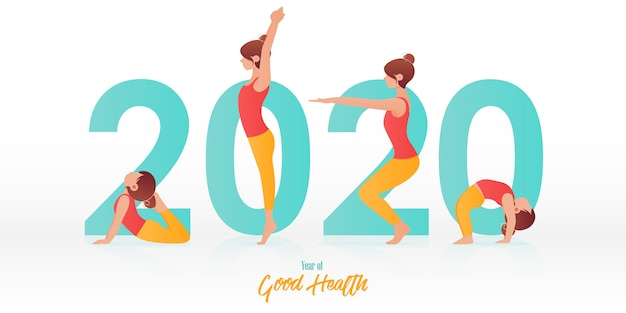 Feliz año nuevo 2020 banner con posturas de yoga para niños