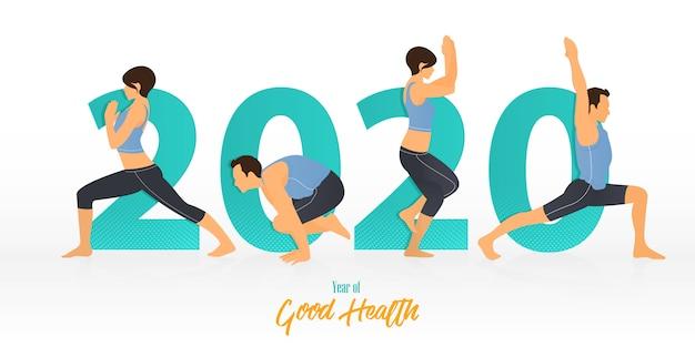 Feliz año nuevo 2020 banner con posturas de yoga