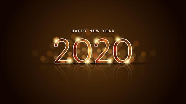 Feliz año nuevo 2020 brillante con bokeh abstracto y fondo dorado de destello de lente