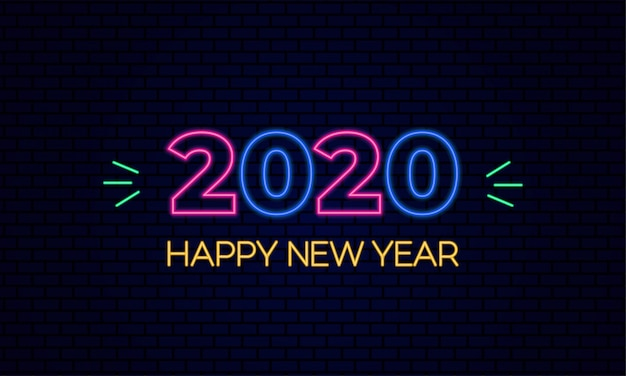 Feliz año nuevo 2020 brillante efecto de luz de neón sobre fondo de ladrillo azul oscuro