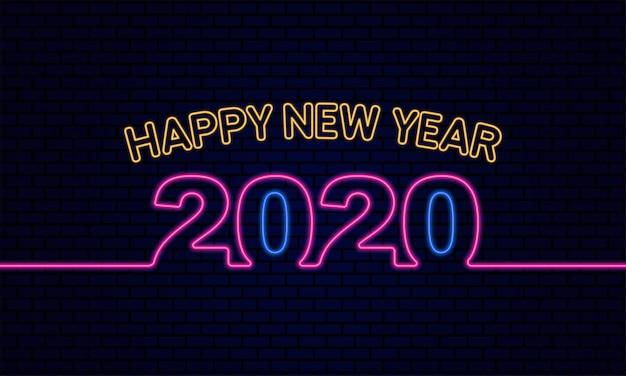 Feliz año nuevo 2020 brillante efecto de luz de neón sobre ladrillo azul oscuro