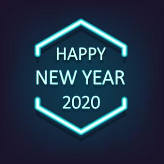 Feliz año nuevo 2020 brillante fondo de luz de neón. ilustración vectorial