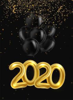 Feliz año nuevo 2020. cartel con globos realistas dorados y negros y serpentina