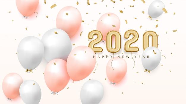 Feliz año nuevo 2020 celebra la pancarta, globos de papel de oro con números y confeti
