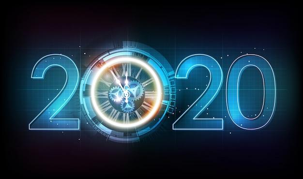 Feliz año nuevo 2020 celebración con reloj abstracto de luz blanca sobre fondo de tecnología futurista, concepto de cuenta regresiva, ilustración