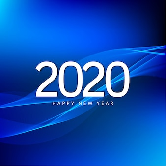 Feliz año nuevo 2020 celebración saludo azul
