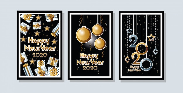 Feliz año nuevo 2020 celebración set tarjetas