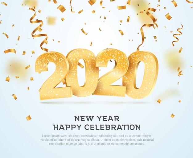 Feliz año nuevo 2020 celebrando ilustración vectorial