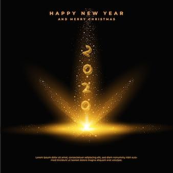 Feliz año nuevo 2020 con colas de polvo doradas y brillantes, tarjeta de felicitación
