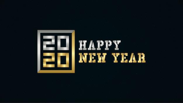 Feliz año nuevo 2020 con color dorado y plateado