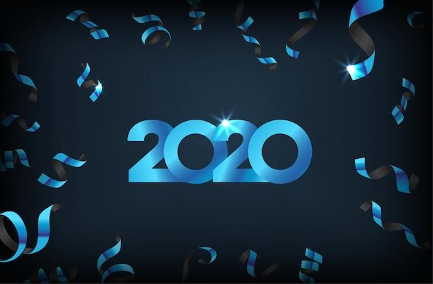 Feliz año nuevo 2020 con confeti cayendo