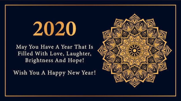 Feliz año nuevo 2020 deseo estilo con mandala dorado de lujo