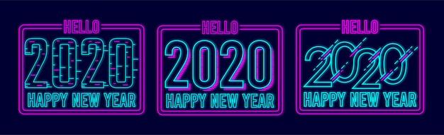 Feliz año nuevo 2020 diseño de banner con neon glow style premium vector