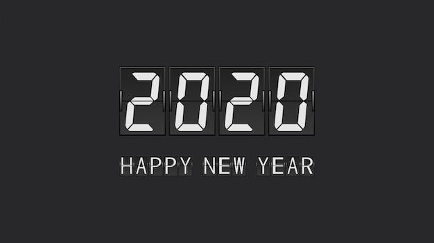 Feliz año nuevo 2020 en diseño de carta de panel de flip board de cuenta regresiva