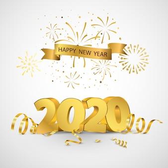 Feliz año nuevo 2020 diseño de tarjeta de felicitación confeti de oro.