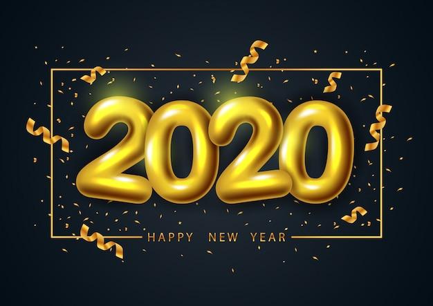 Feliz año nuevo 2020, diseño de tarjeta de felicitación y póster con realista número dorado 2020.