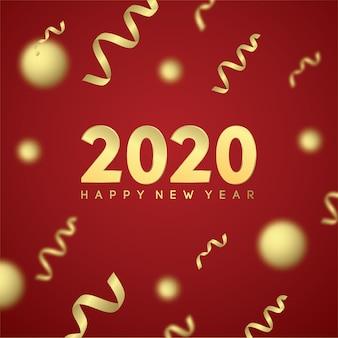 Feliz año nuevo 2020 con efecto dorado en rojo
