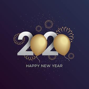 Feliz año nuevo 2020 elegante tarjeta de felicitación con globo dorado