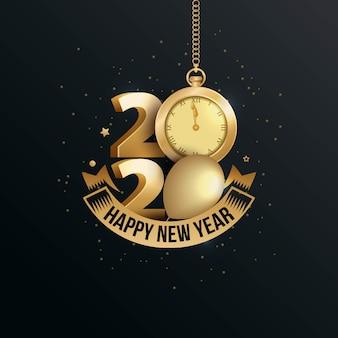Feliz año nuevo 2020 elegante tarjeta de felicitación con reloj de oro