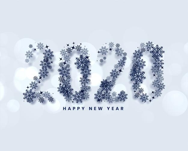 Feliz año nuevo 2020 escrito en estilo copos de nieve