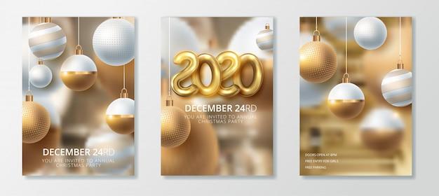 Feliz año nuevo 2020 y feliz navidad conjunto de tarjetas de felicitación