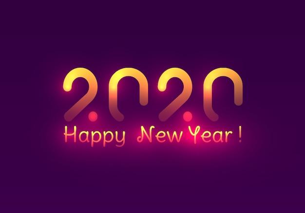 Feliz año nuevo 2020. festivas luces moradas y doradas.